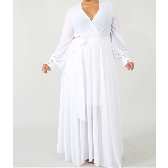 Womens Plus Size White Chiffon Maxi Dress Boutique